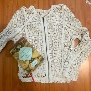 BLVD collection floral crochet sweater shrug